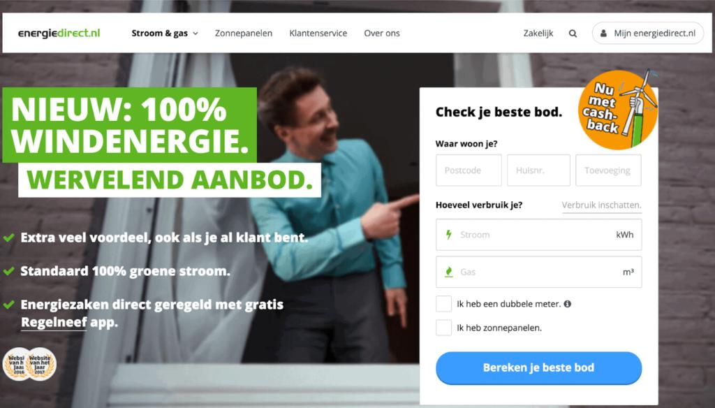 Energiedirect website van het jaar winnaar