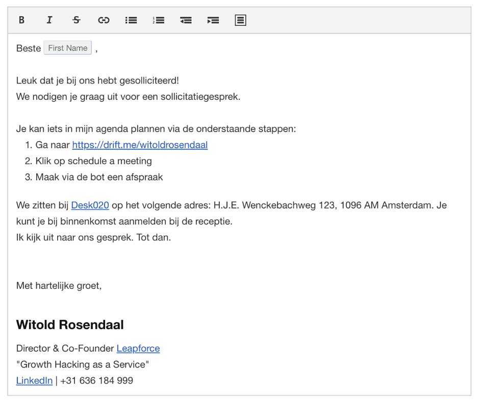 Screenshot van uitnodigingsmail via Drift bot