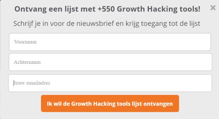 Screenshot van Growth Hacking tools lijst