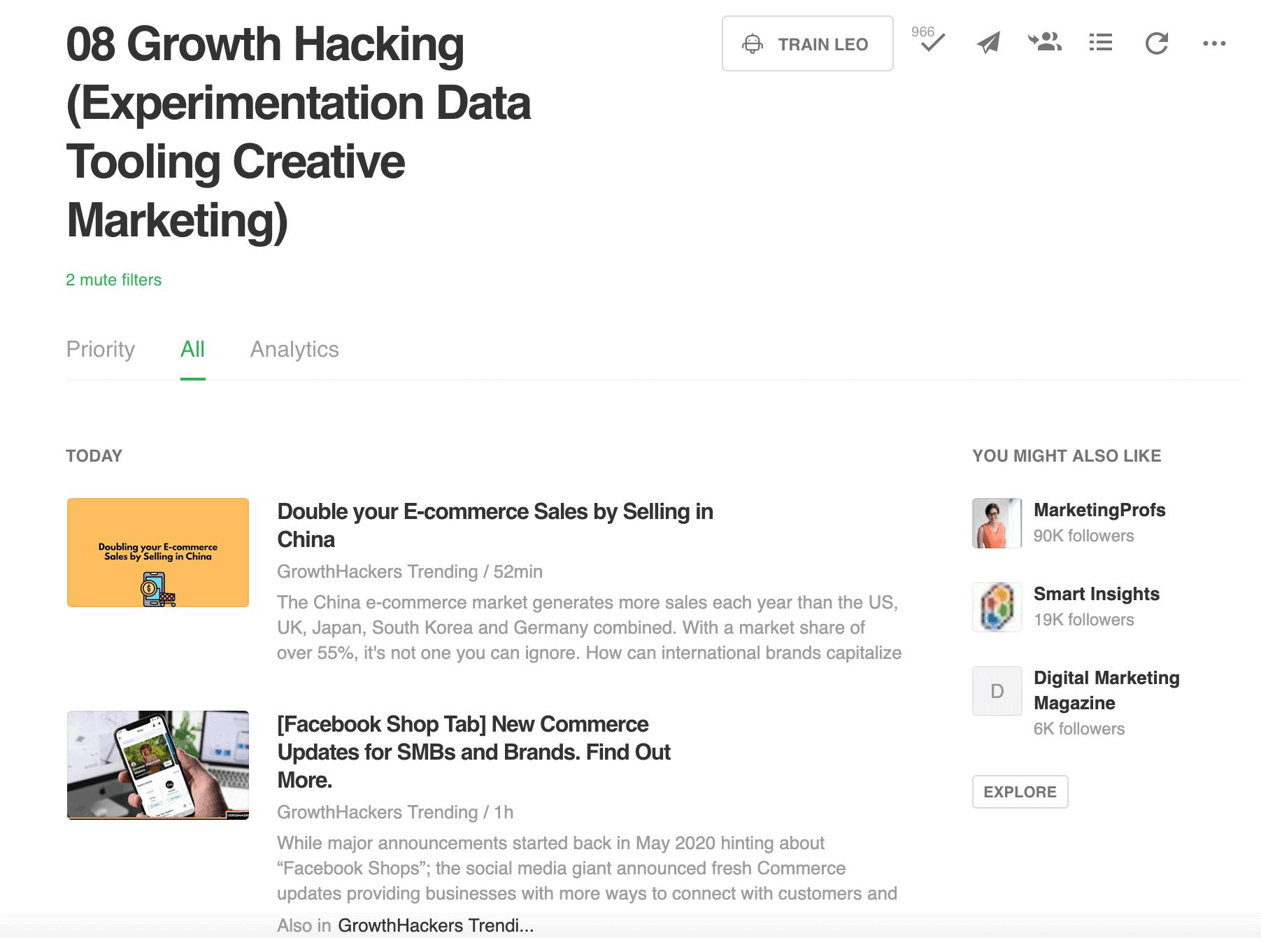 De Growth Hacking feed van Leapforce op ons Feedly account