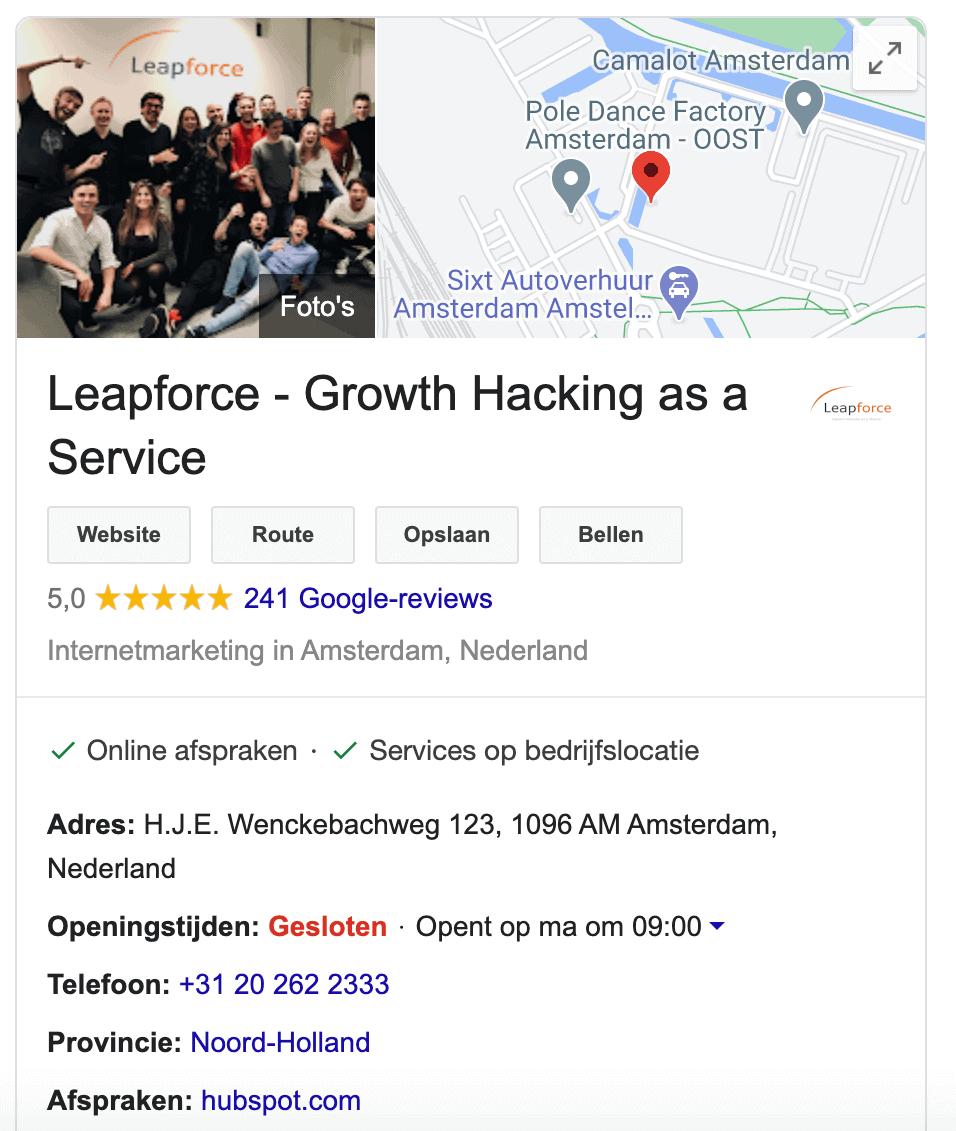 Google Mijn Bedrijf foto's