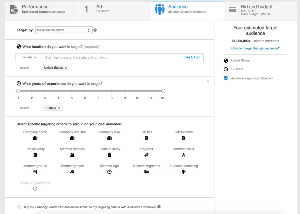 Targeting LinkedIn advertentie